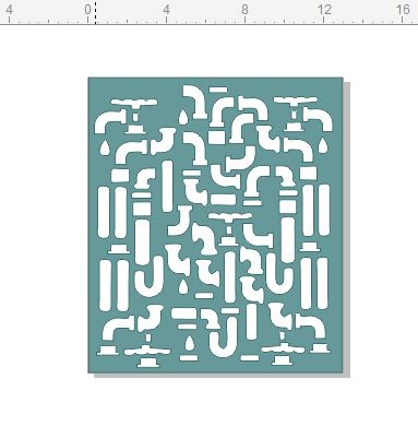 13 x 15 pipes and taps  stencil to suit large Gelli plate