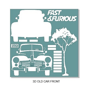 Fast and furious car  3D.  12 x 12 sheet