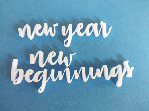 Acrylic word New year new beginnings  min buy3 approx 120 long