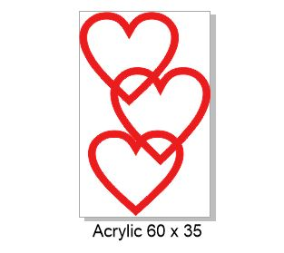 Red hearts acrylic 60 x 38mm  pack of 5