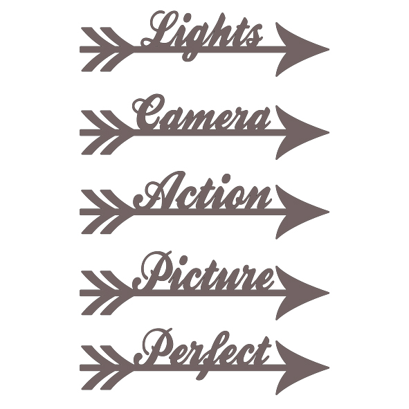 Arrow words lights camera action 100 x 150 mm Min buy 3