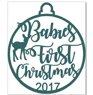 2017 Babies First Christmas  WOOD 100 x 100 mm