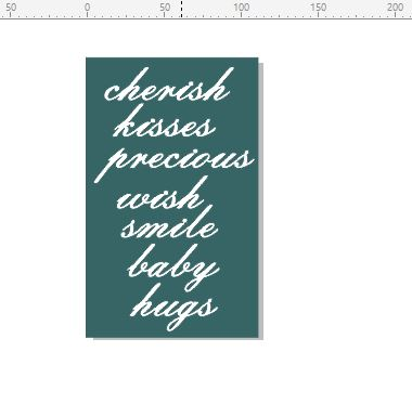 Baby words script 110 x 180mm min buy 3