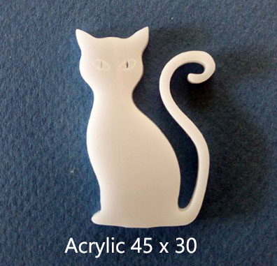 Cat curly tail Acrylic white 30 x 45mm Acrylic Pack of5