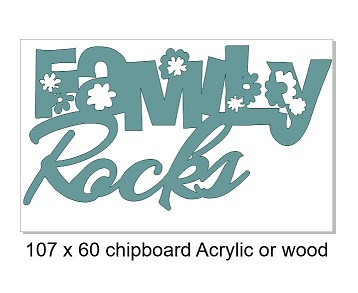 Family rocks 108 x 60mm min buy 3 , can be cut in Chipboard Acry