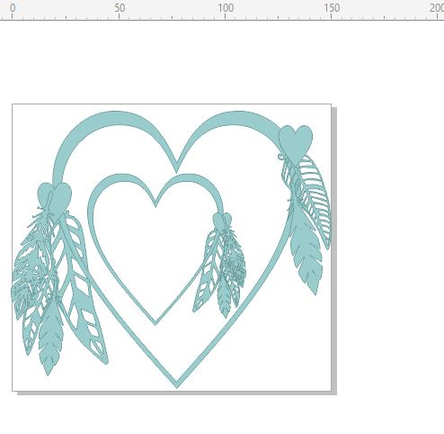 heart frame with feathers boho chipboard 150 x 135  min buy 3