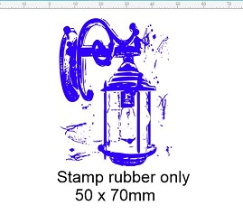 lamplight vintage rubber stamp 50 x 70mm RUBBER only  ADD DOUBLE