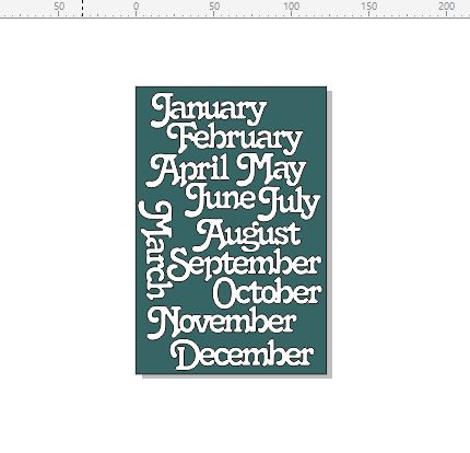 Months of the year 122 x 185MM MIN BUY 3