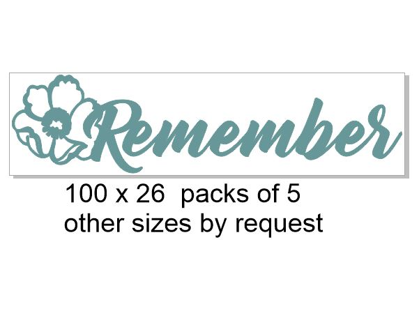 Remember with poppy 100 x 26 pack of 5