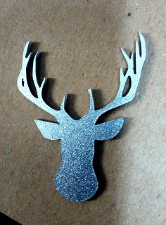 Silver Acrylic deer head  55 x 40mm  pack of 5   Av. Other color