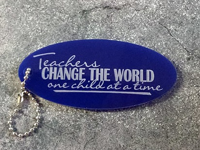 Teacher thank you  Keyring, 60 x 30mm   Acrylic blue