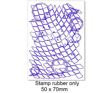 Vintage stamp fishnet grunge  50 x 70mm-
